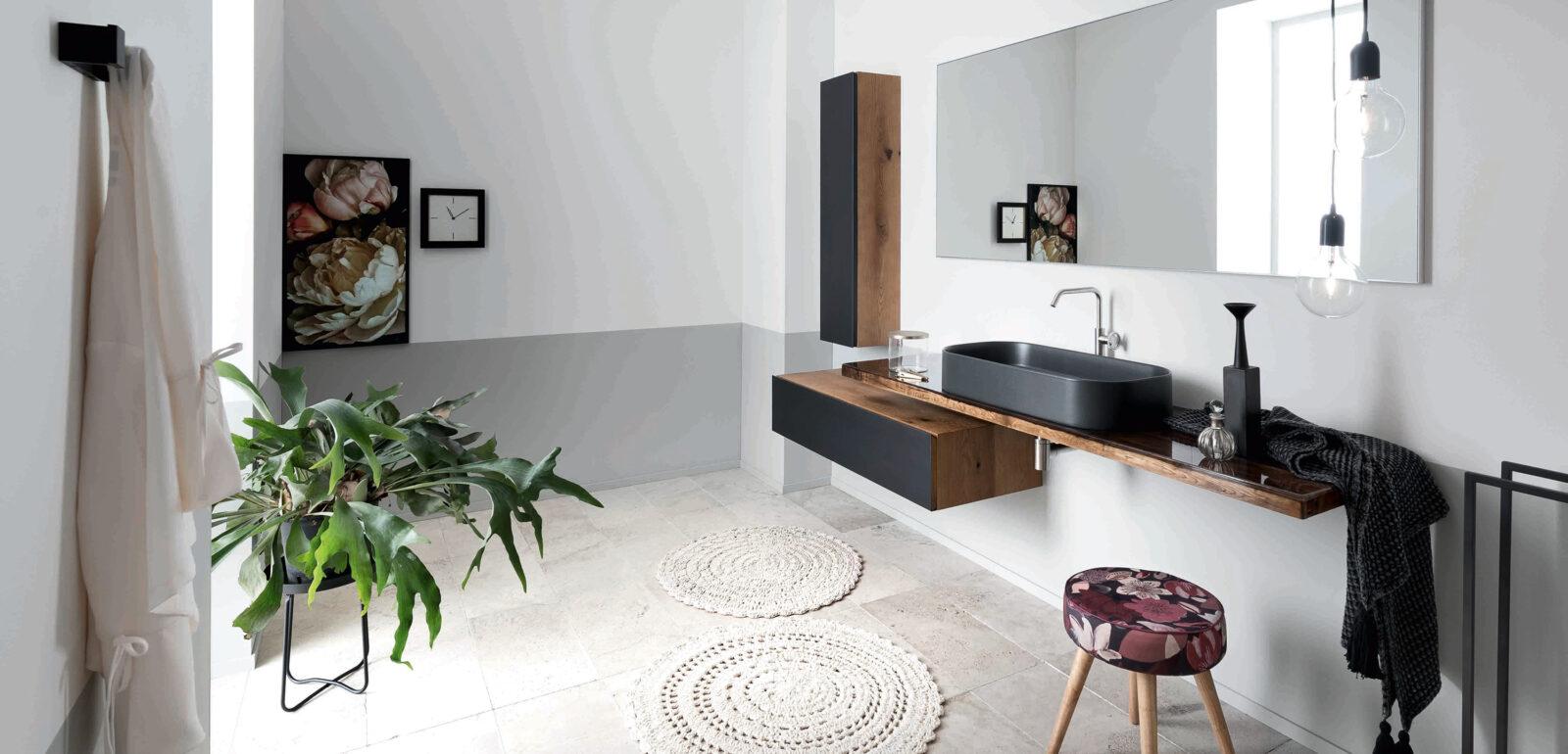 arredo bagno Alta Corte Ecobath Gap2 top resinato base cassetto pensile verticale specchiera lavabo