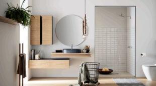 arredo bagno Alta Corte Ecobath Gap3 base cassetto pensile verticale specchiera rotonda e lavabo