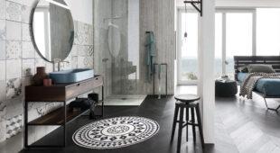 arredo bagno Alta Corte Ecobath Mono1 finitura cotto specchiera rotonda e lavabo
