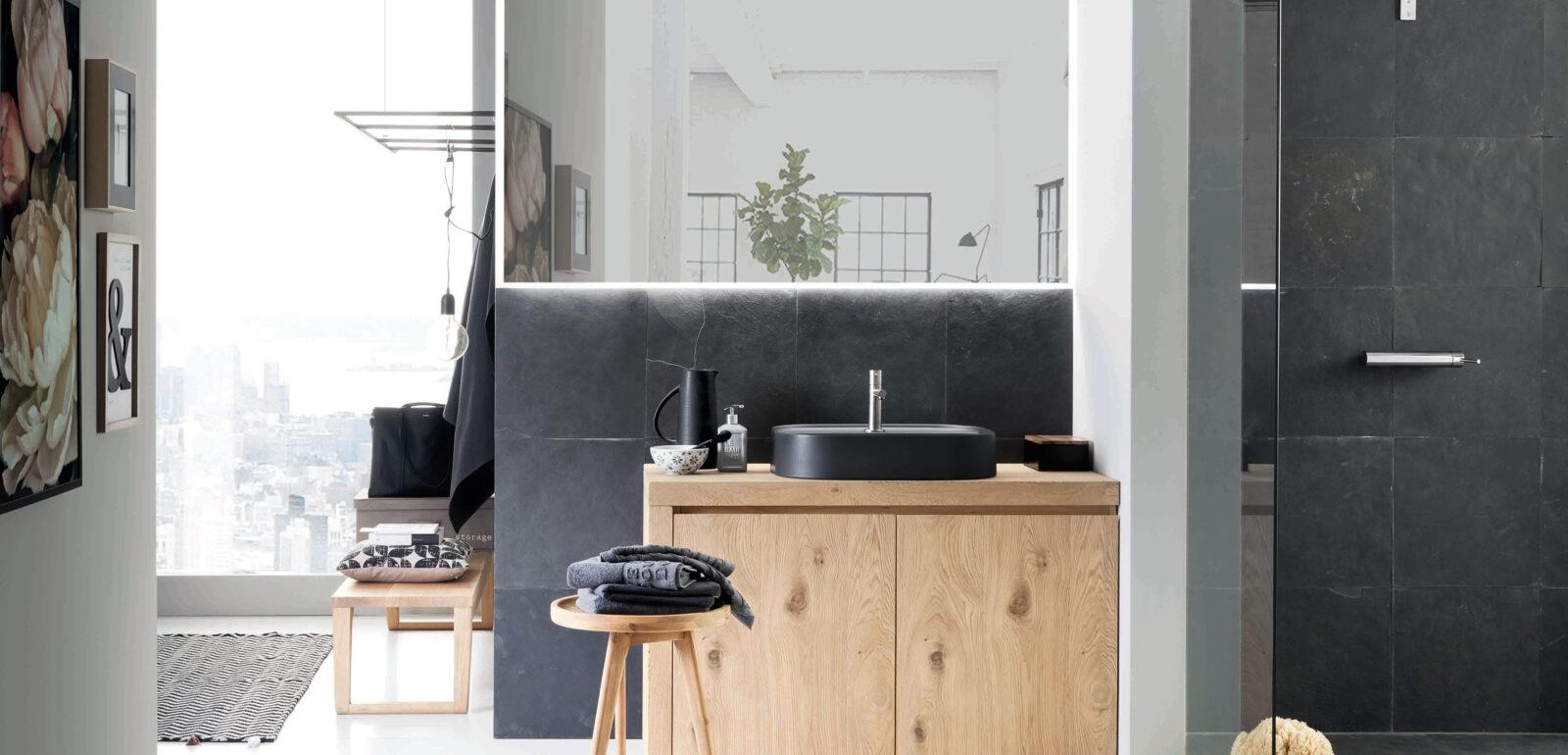 arredo bagno Alta Corte Ecobath Mono2 finitura kuba specchiera lavabo e panchetta Clover