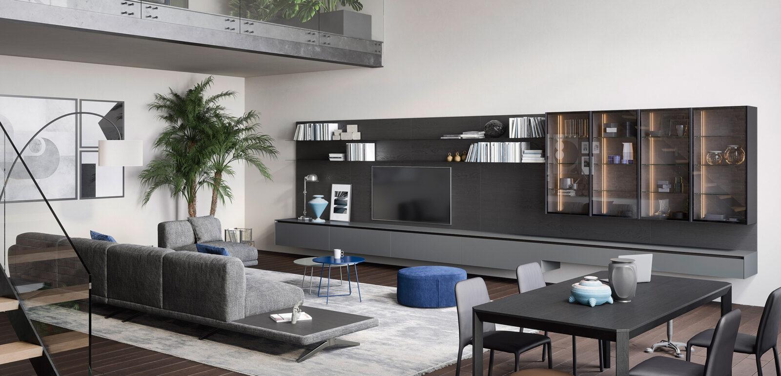 mobili soggiorno Treviso - divano e parete tv Novamobili